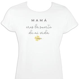 Camiseta mujer mangas enrolladas Eres la suerte de mi vida