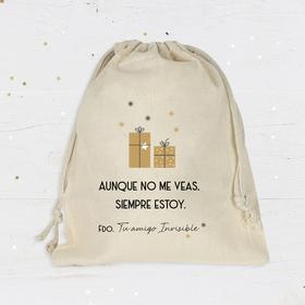 Bolsa de algodón amigo invisible 25x28cm