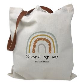 Bolsa personalizada Stand by me con asas de polipiel marrón