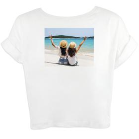 Camiseta mujer corta de mangas enrolladas personalizada