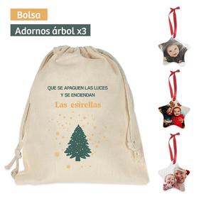 Pack bolsa y adornos navideños personalizados Las estrellas